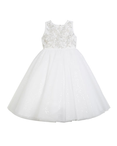 Embroidered Satin Dress w/ Sequin Tulle Skirt  Size 2-14