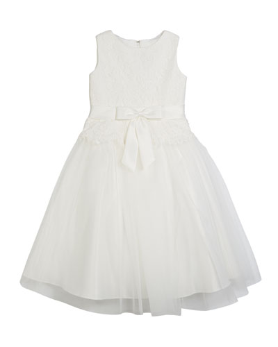 Lace Bodice & Tulle Skirt Tea-Length Dress  Size 2-14
