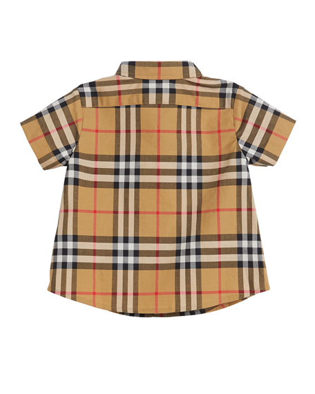 Fred Short-Sleeve Check Shirt, Size 6M-2