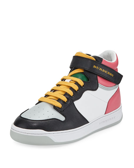 a73ee07e05d Burberry Duck Leather Colorblock High-Top Sneaker