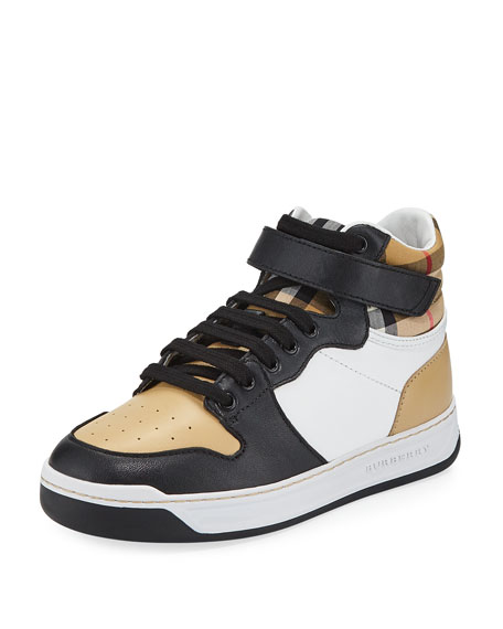 04682fe8263 Burberry Duke Leather Colorblock   Check High-Top Sneaker