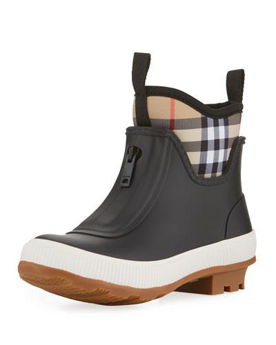 Flinton Short Rubber Rain Boots w/ Check Detail  Toddler/Kids