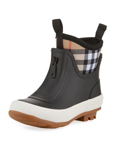 Flinton Short Rubber Rain Boots w/ Check Detail  Toddler
