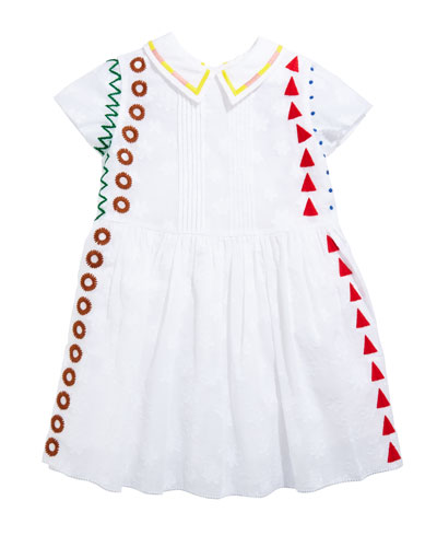 Embroidered Pintucked Short-Sleeve Dress  Size 3-14