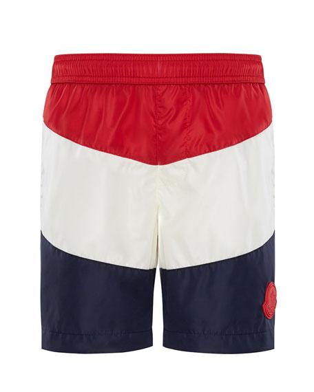 Moncler Colorblock Swim Trunks, Size 4-6