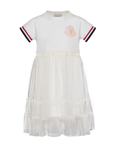 Short-Sleeve Tulle Overlay Dress, Size 8-14