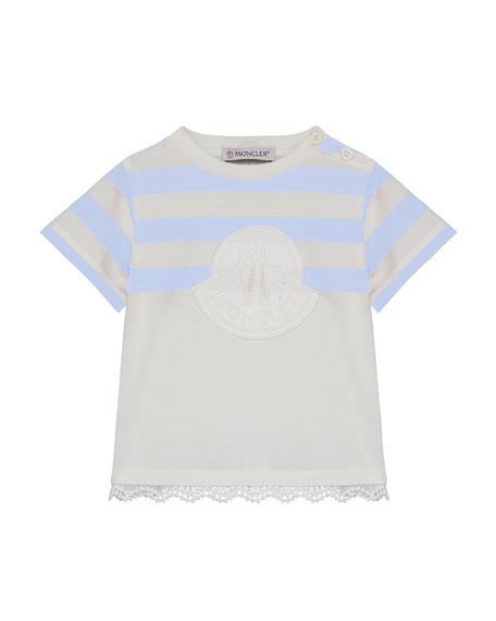 Logo Patch Striped & Solid Top w/ Lace Hem, Size 12M-3