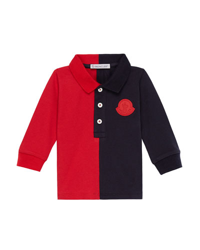 Two-Tone Long-Sleeve Polo Shirt  Size 12M-3