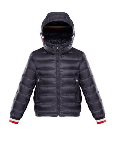 Quilted Hooded Jacket w/ Striped Trim, Size 4-6