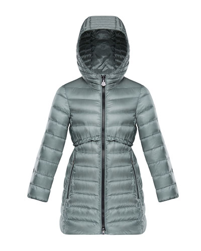 Quilted Ruffle-Trim Hooded Jacket  Size 8-14