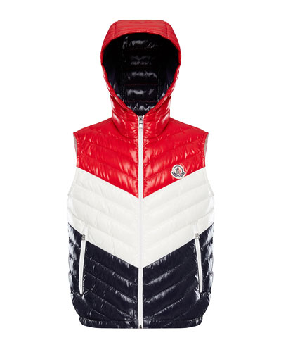 Tricolor Chevron Quilted Hooded Vest, Size 4-6