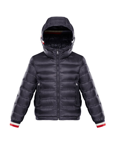 Quilted Hooded Jacket w/ Striped Trim  Size 8-14