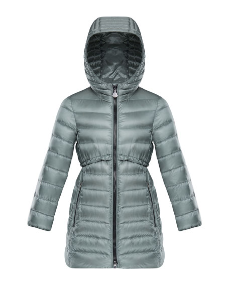 Suva Quilted Ruffle-Trim Hooded Jacket, Size 4-6