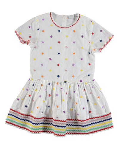 Short-Sleeve Embroidered Star Dress  Size 4-14