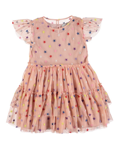 Multicolored Embroidered Star Tiered Tulle Dress  Size 4-14