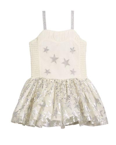 Metallic Star Dress w/ Detachable Wings  Size 4-10