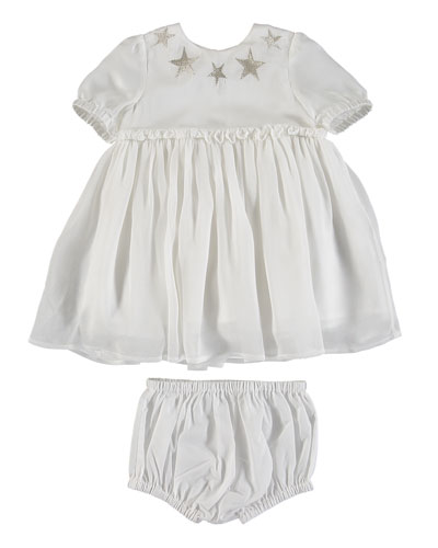 Silver Stars Silk Dress w/ Bloomers  Size 6-36 Months