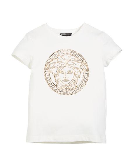 d2689a35 Versace Medusa Head Strass Logo Tee, Size 4-6
