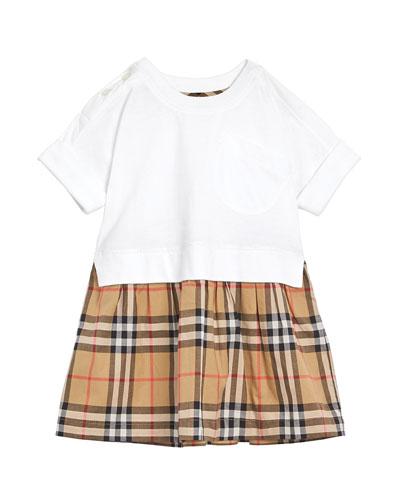 Short-Sleeve T-Shirt & Plaid Skirt Dress  Size 6M-2
