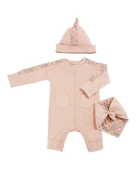 fd5167afe11 Burberry Colby Check-Trim 3-Piece Layette Set