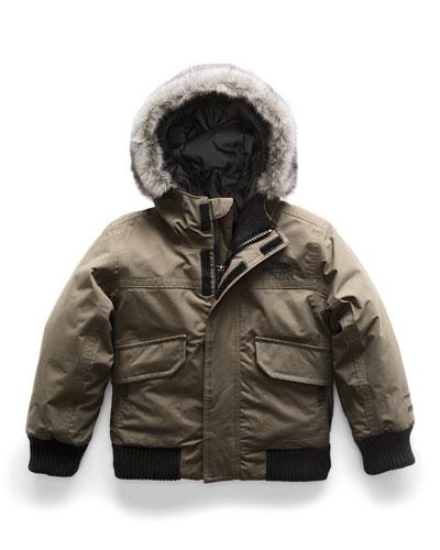 Gotham Down Hooded Jacket w/ Faux-Fur Trim, Size 2-4T