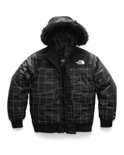 Gotham Down Hooded Grid Jacket w/ Faux-Fur Trim  Size XXS-XL