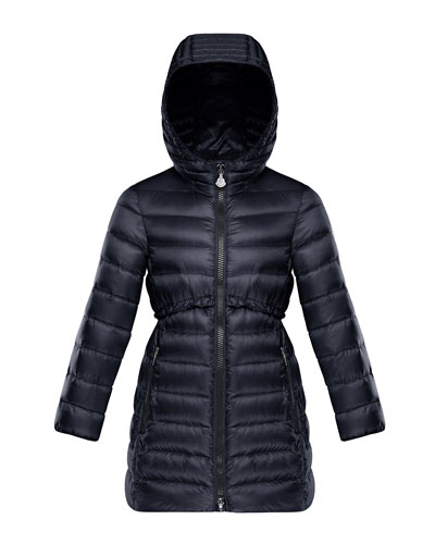 Quilted Ruffle-Trim Hooded Jacket  Size 4-6