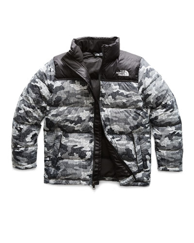 Nuptse Camo-Print Quilted Down Jacket, Size XXS-L