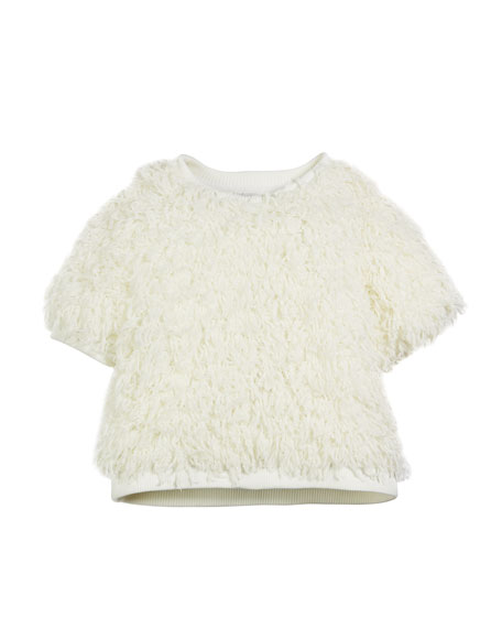 MILLY MINIS Sparkle Knit Confetti Popover, Size 7-16 in Ivory