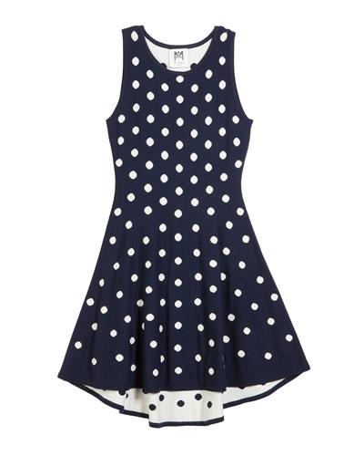 Polka-Dot jacquard Knit Dress  Size 7-16