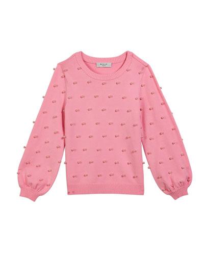 Pearly Bead Balloon-Sleeve Sweater, Size 7-16