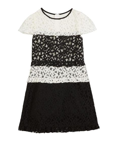 Gabbriella Two-Tone Floral Lace Dress, Size 7-16
