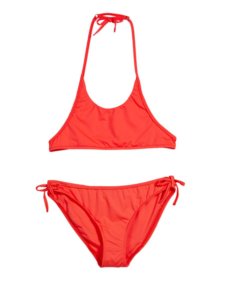MILLY MINIS Two-Piece Halter Bikini, Size 7-16 in Pink