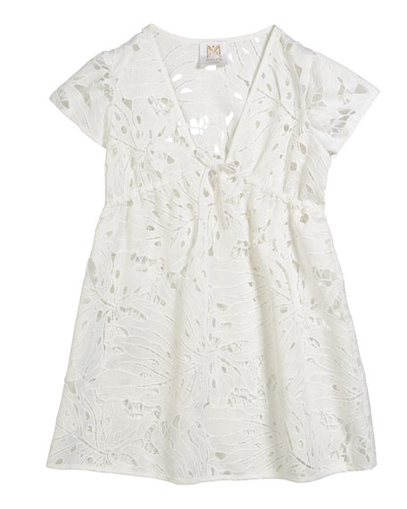 Milly Minis Tropical Embroidery Swim Coverup, Size 4-6