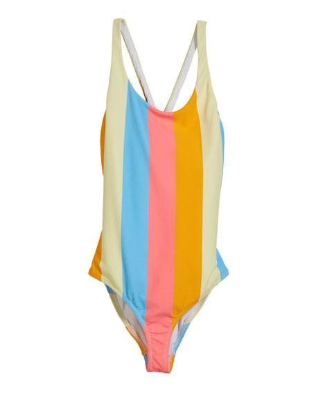 Milly Minis Neon Stripe Scoop One-Piece Swimsuit, Size