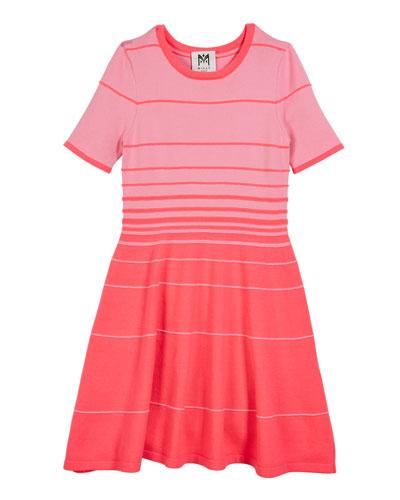 Degrade Stripe Short-Sleeve Flare Dress  Size 7-16