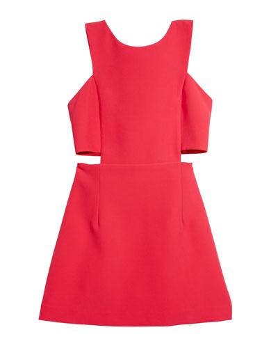 Italian Cady Cutout Mini Dress, Size 7-16