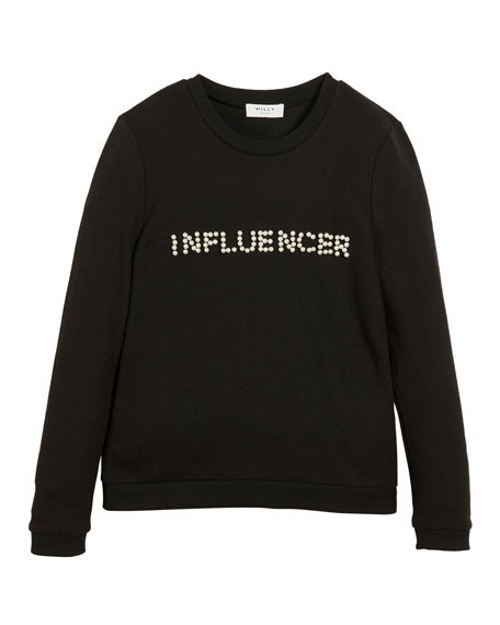 Image 1 of 1: Influencer Pearly Long-Sleeve Top, Size 4-6