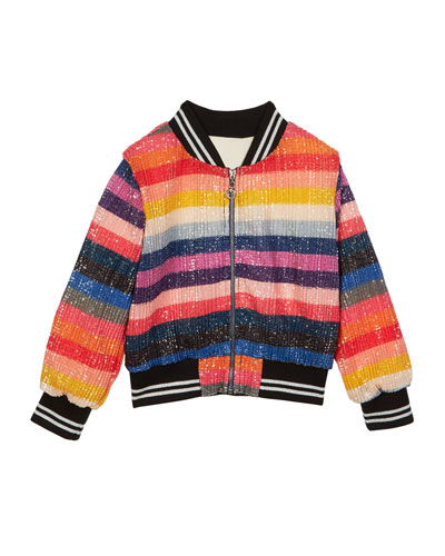 Multicolor Striped Sequin Bomber Jacket  Size 4-6