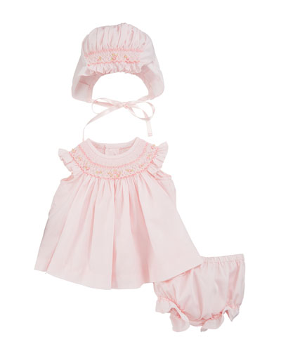 Smocked 3-Piece Layette Set  Size Newborn-9 Months