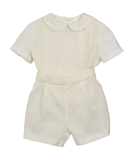 Luli & Me Silk Pintucked Playsuit, Size 3-12