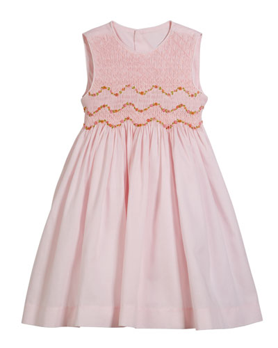 Smocked Embroidered Sleeveless Dress  Size 4-6X