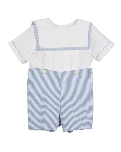 Sailor Top w/ Seersucker Shorts  Size 3-9 Months