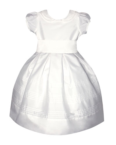 Silk Pintucked Dress w/ Embroidered Peter Pan Collar  Size 6-8