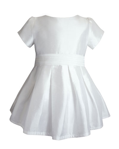 Short-Sleeve Silk Special Occasion Dress  Size 2-8
