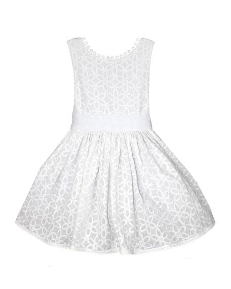 Isabel Garreton Floral Embroidered V-Back Loops Dress, Size