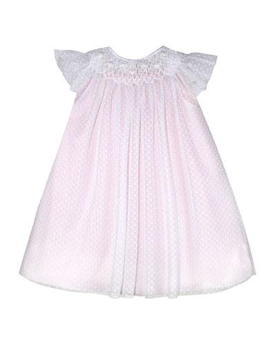 Angelic Smocked Swiss Dot Bishop Dress, Size 12 Months