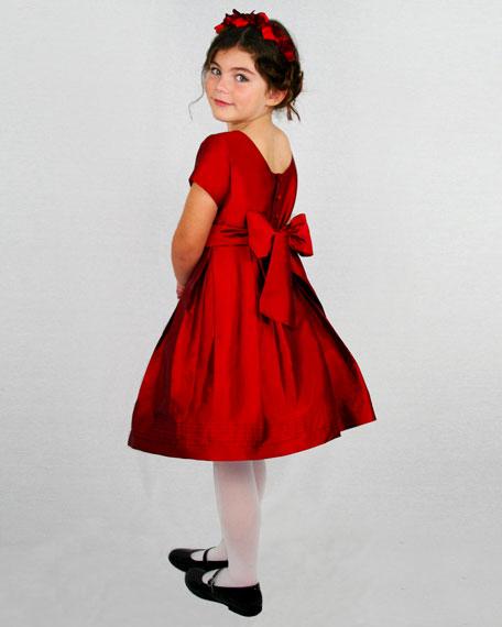 Pintucked Taffeta Dress, Size 4-6