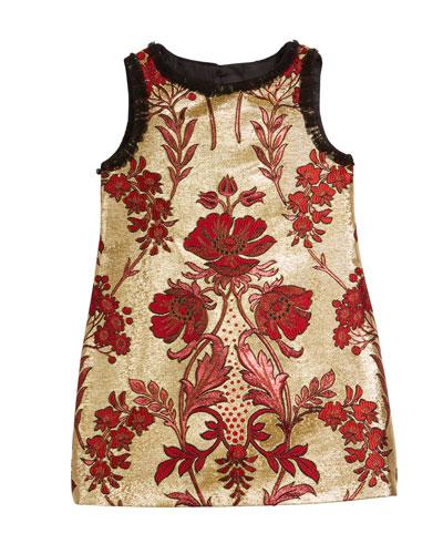 Metallic Floral Jacquard Sleeveless Dress  Size 8-12