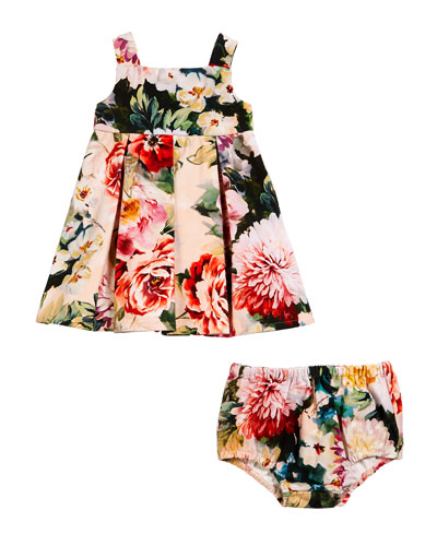 Box Pleat Floral Dress w/ Matching Bloomers  Size 6-30 Months